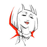 Logo with stylish woman haircut Royalty Free Stock Photos