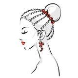 Logo with stylish woman haircut Royalty Free Stock Photo