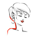 Logo With Stylish Woman Haircut Stock Vector Illustration Of