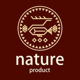 Logo. Stylized deer, fish, berries, cones in the circle. Figures of the nationalities of the north. Logo. Stylized deer, fish, berries, cones in the circle Royalty Free Stock Photography