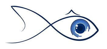 Logo stylized fish. Logo stylized sea fish with big eyes Stock Photo