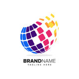 Logo of a stylized globe with pixels in motion. This logo is suitable for global company, world technologies and media agencies stock illustration