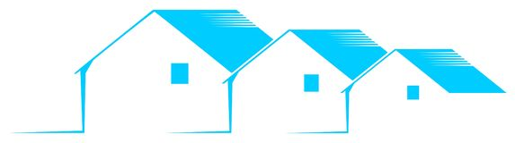 Logo with stylized houses in blue and white isolated stock photos