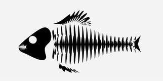 Logo with skeleton of fish royalty free illustration