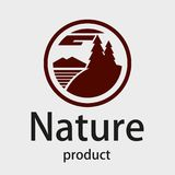 Logo. Firs on the river bank in a circle. Silhouette. Logo. Stylized trees, mountains and river in a circle. Wild forests, Siberia, Alaska. Vector graphics Royalty Free Stock Image