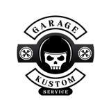 Logo su ordinazione del garage con il casco sul cranio Fotografia Stock