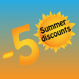 Logo of summer discounts. Minus fifty percent. -50 . The lights of a sun . Template. Vector. Illustration Stock Image