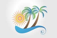 Logo summer tropical palm trees sun and waves royalty free illustration