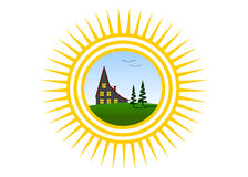 Logo sun. The sun with beams, the house and couple of trees Royalty Free Stock Photography