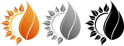 Logo sun and fire. Vector logo, a symbol of the sun and fire Royalty Free Stock Images