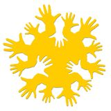 Logo the sun with hands. Stock Photography