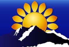 Logo of the sun over the mountains Royalty Free Stock Photography