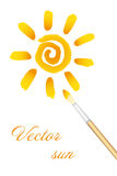 Logo - Sun and paintbrush Stock Photo