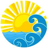 Logo of the sun and sea. A sea logo from the sun dawn Stock Photo