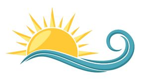 Logo sun and sea. Stock Photo