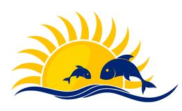 Logo of sun and sea with fishes.