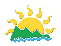 Logo sun and sea. Stock Photography