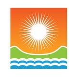 Logo Sunny coast. Sea, sun and mountains Stock Image