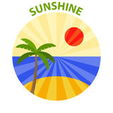 Logo of sunshine. Palm against the setting sun and the sea Stock Photography