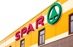 Logo of the supermarket SPAR is an international retail chain an. SAINT PETERSBURG, RUSSIA - JULY 29, 2016: Logo of the supermarket SPAR is an international royalty free stock photo