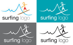Logo surfing on sea wave Stock Image