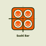 Logo for sushi bars. Icon with smiley bento sushi and chopsticks. Logo for sushi bars. Vector illustration Royalty Free Stock Photography