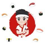Logo sveglio del cuoco unico di sushi del carattere illustrazione vettoriale