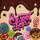 Logo sweet shop. Vector logo for sweets, candy shop, boutique, store royalty free illustration