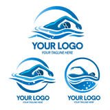 Logo swimming sport. Swimming illustrations with blue water perfect for swimming and sport company royalty free illustration