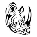 Logo sylwetka kaganiec nosorożec w czerni z wzorem curlicues na białym tle royalty ilustracja