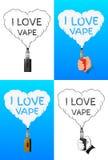 Logo or symbol design concept set. I love vape, logo or symbol design concept set. Vector Illustrator Stock Photography