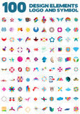Logo, symbol and design elements. 100 very useful  design elements for logos and symbol designing Royalty Free Stock Photo