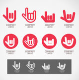 Logo and Symbol design Rock hand and Love hand Stock Images