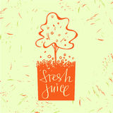 Logo symbol for fresh juice. Fruit tree. Orange tree. Hand drawn Stock Photo