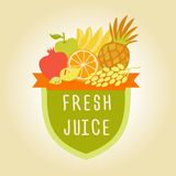 Logo symbol for fresh juice. Hand drawn fruit design Stock Photo