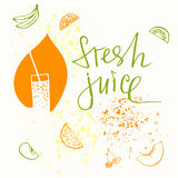 Logo symbol for fresh juice. Hand drawn fruit design. Stock Images