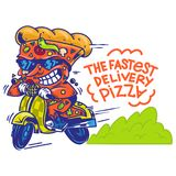 The fastest delivery of pizza. Logo symbol icon crazy big piece pizza driving fast speed retro scooter and try the fastest delivery street food eat pizza Vector Royalty Free Stock Photography