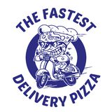 The fastest delivery of pizza. Logo symbol icon crazy big piece pizza driving fast speed retro scooter and try the fastest delivery street food eat pizza Vector Stock Photo