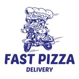 The fastest delivery of pizza. Logo symbol icon crazy big piece pizza driving fast speed retro scooter and try the fastest delivery street food eat pizza Vector Stock Photography
