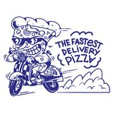 The fastest delivery of pizza. Logo symbol icon crazy big piece pizza driving fast speed retro scooter and try the fastest delivery street food eat pizza Vector Royalty Free Stock Photo