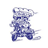 The fastest delivery of pizza. Logo symbol icon crazy big piece pizza driving fast speed retro scooter and try the fastest delivery street food eat pizza Vector Royalty Free Stock Photos