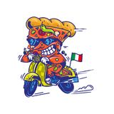 The fastest delivery of pizza. Logo symbol icon crazy big piece pizza driving fast speed retro scooter and try the fastest delivery street food eat pizza Vector Stock Image
