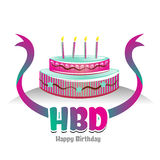 Logo-symbole heureux de jour de naissance avec la conception de gâteau Images libres de droits