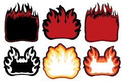 Logo symbols of fire image with place for text. Vector set of logo symbols of fire image with place for text. Flame collection Stock Photography