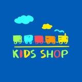Logo, szablon dla dzieciaków robi zakupy i wprowadzać na rynek również zwrócić corel ilustracji wektora Obrazy Stock