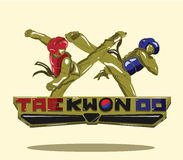 Logo Taekwondo vektor för silueta för konstflickor krigs- Royaltyfri Fotografi