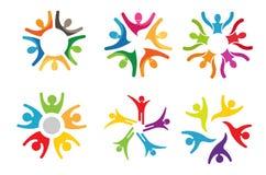 Logo tagliente di sport di dancing della gente del cerchio variopinto creativo di Bodys Fotografia Stock