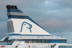 Logo of Tallink Silja Line on the cruise ship Stock Image
