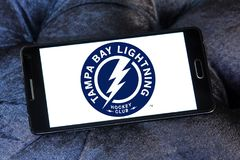 Tampa Bay Lightning ice hockey team logo. Logo of Tampa Bay Lightning club on samsung mobile. The Tampa Bay Lightning are a professional ice hockey team Royalty Free Stock Photo