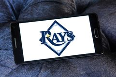 Tampa Bay Rays baseball team logo. Logo of Tampa Bay Rays team on samsung mobile. The Tampa Bay Rays are an American professional baseball Stock Photo